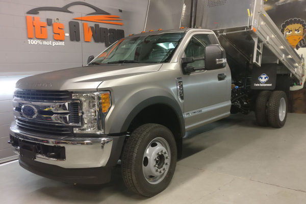 f450 Truck Wrap with brushed steel finish