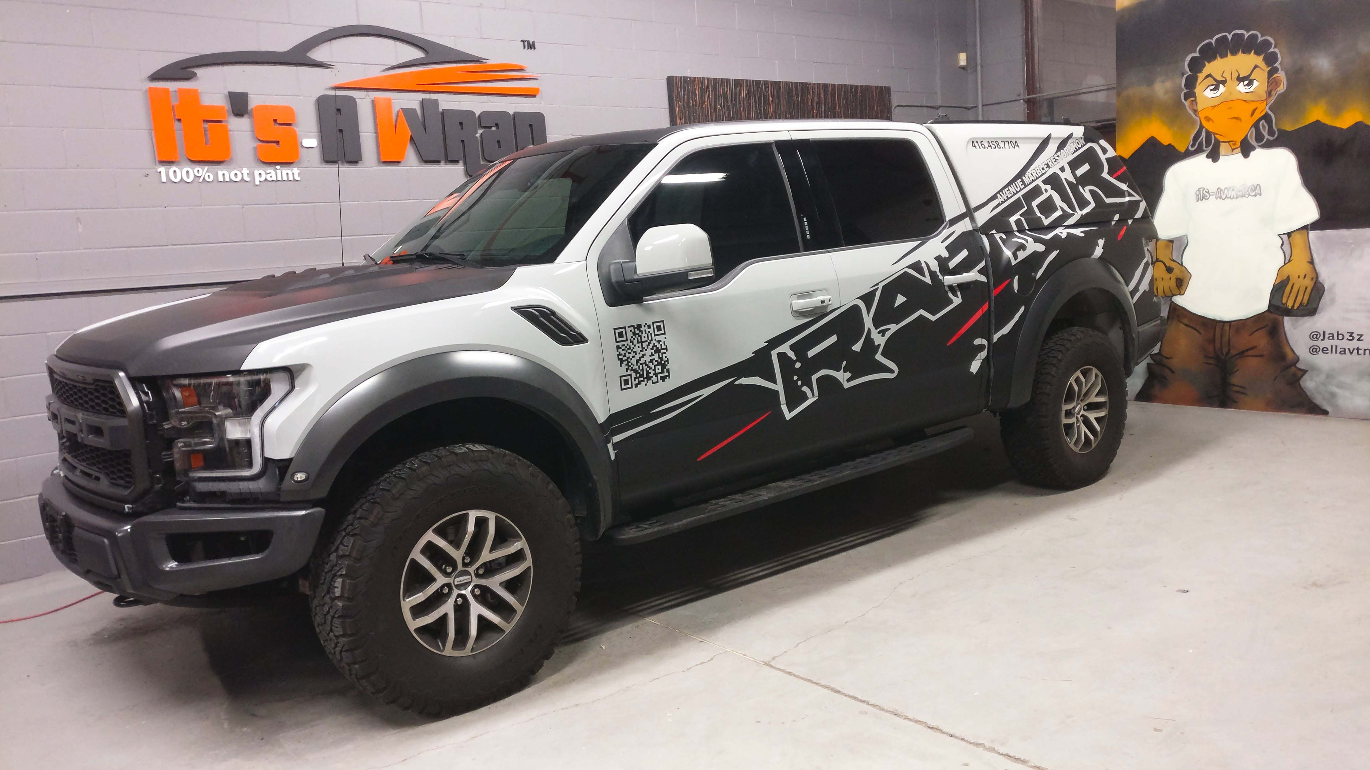 Ford Raptor Custom design Avery matt black wrap