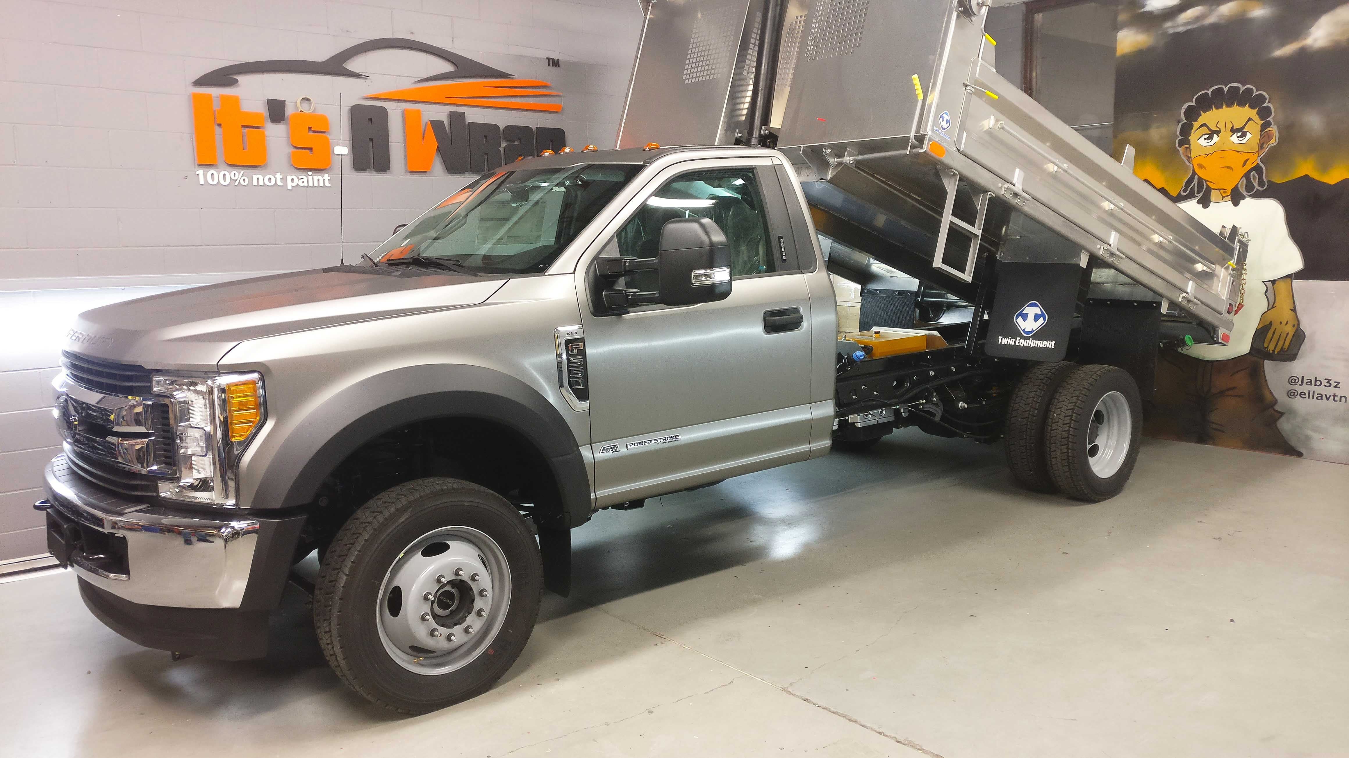Ford F550 Avery wrap brushed steel finish wrap
