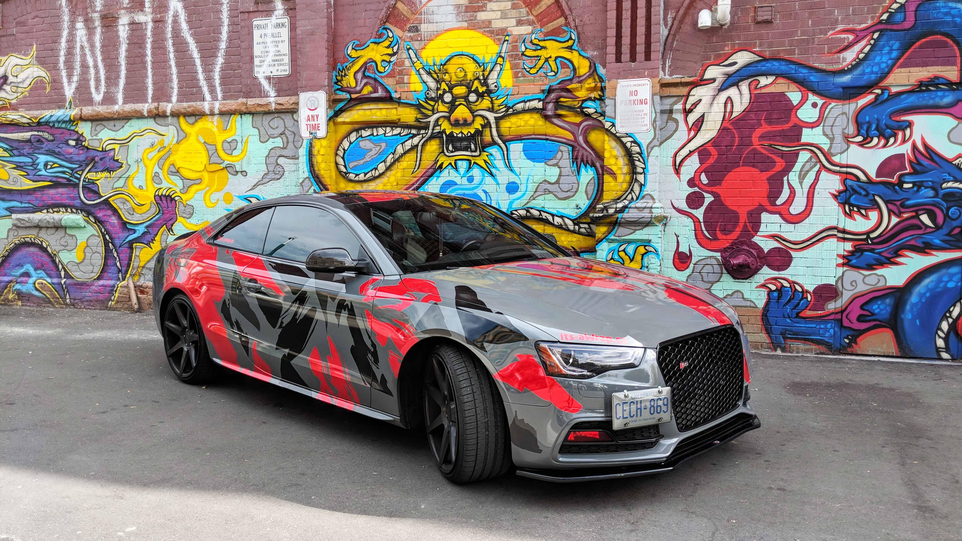 Audi S5 with custom chrome red design and Avery grey colour change