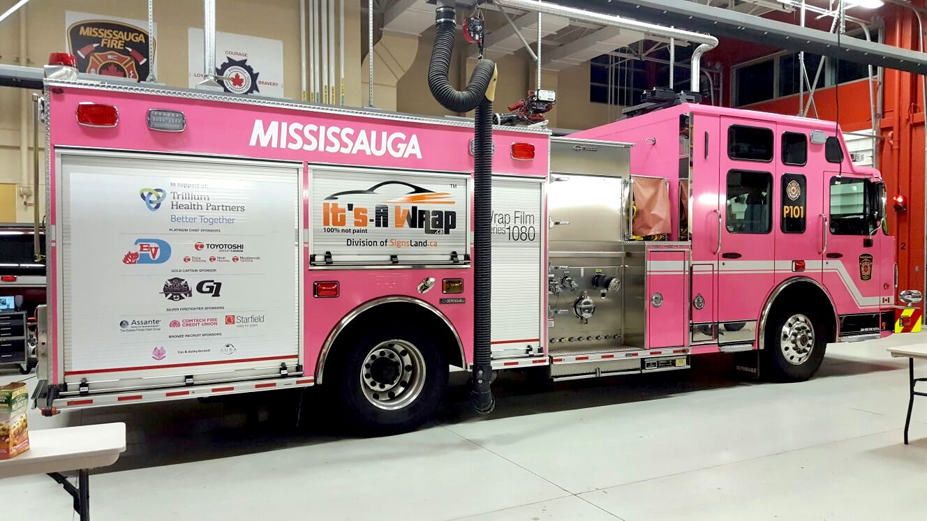Mississauga fire truck Avery hot pink glossy wrap