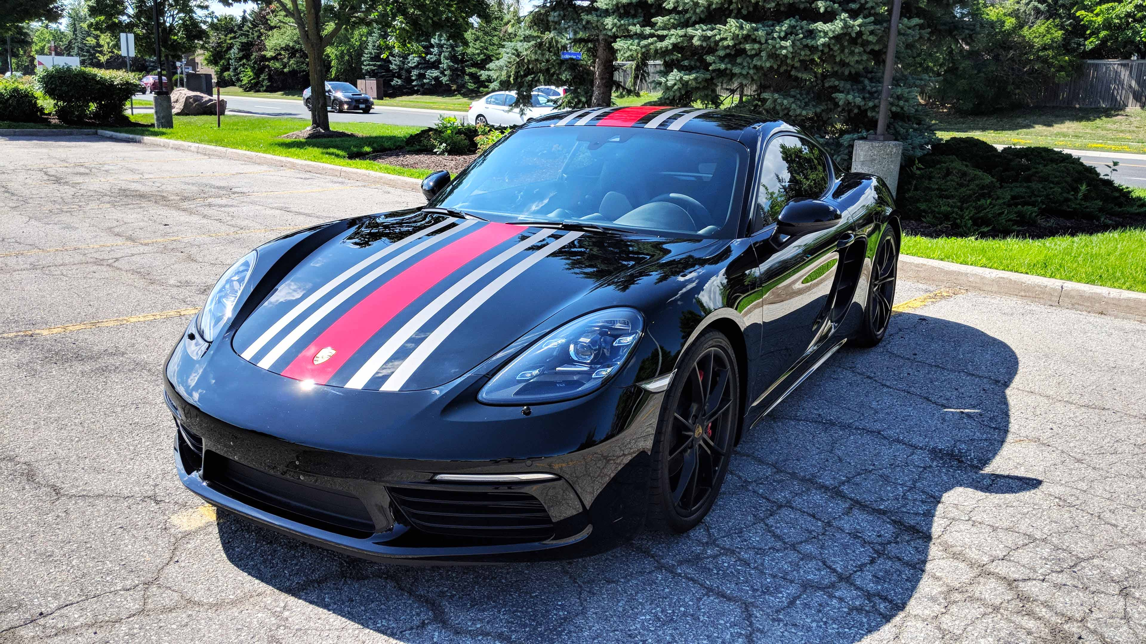 Porsche Cayman with paint protection and Custom Stripes