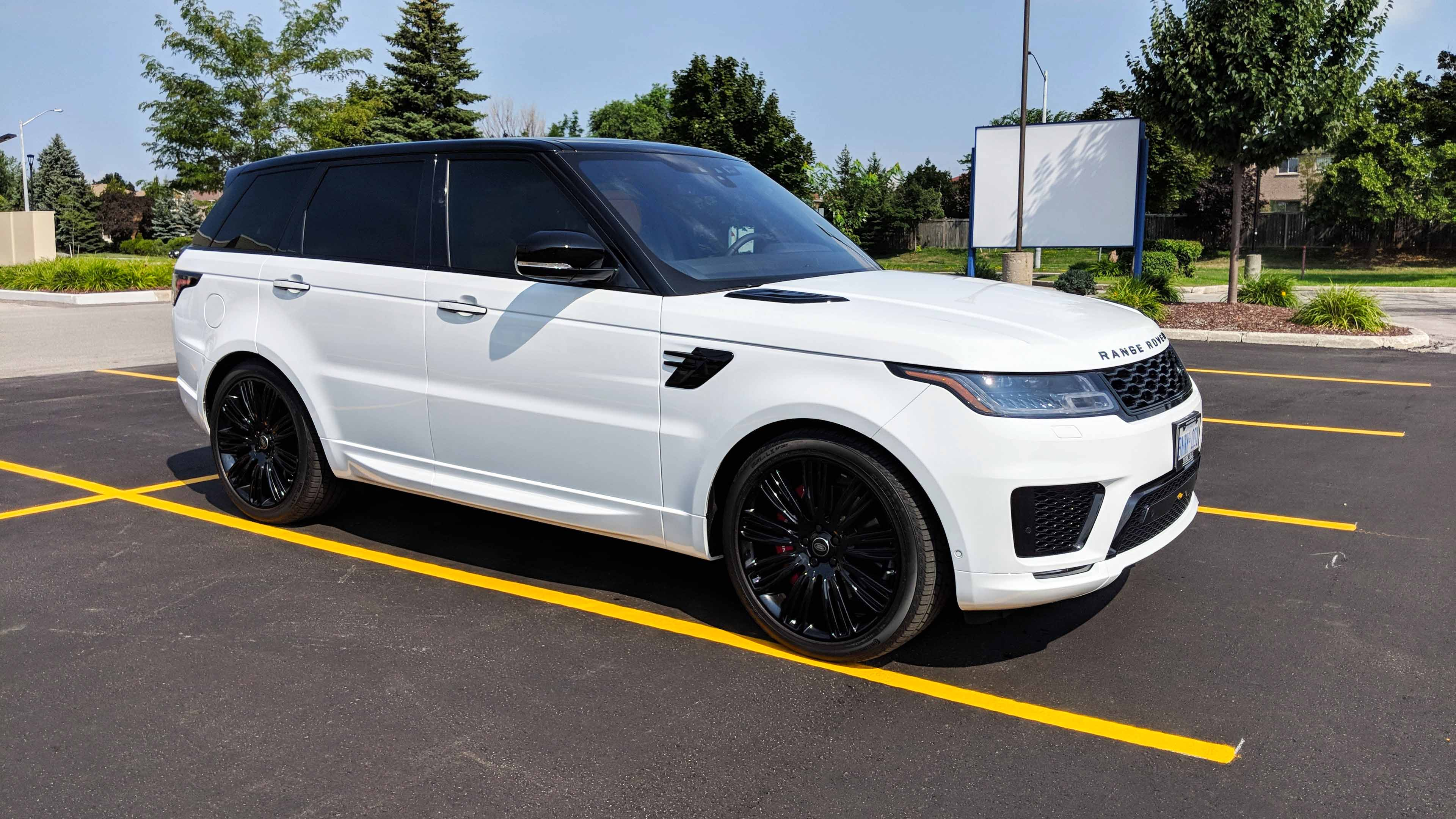 Range Rover sport gloss black roof and window tint with paint protection