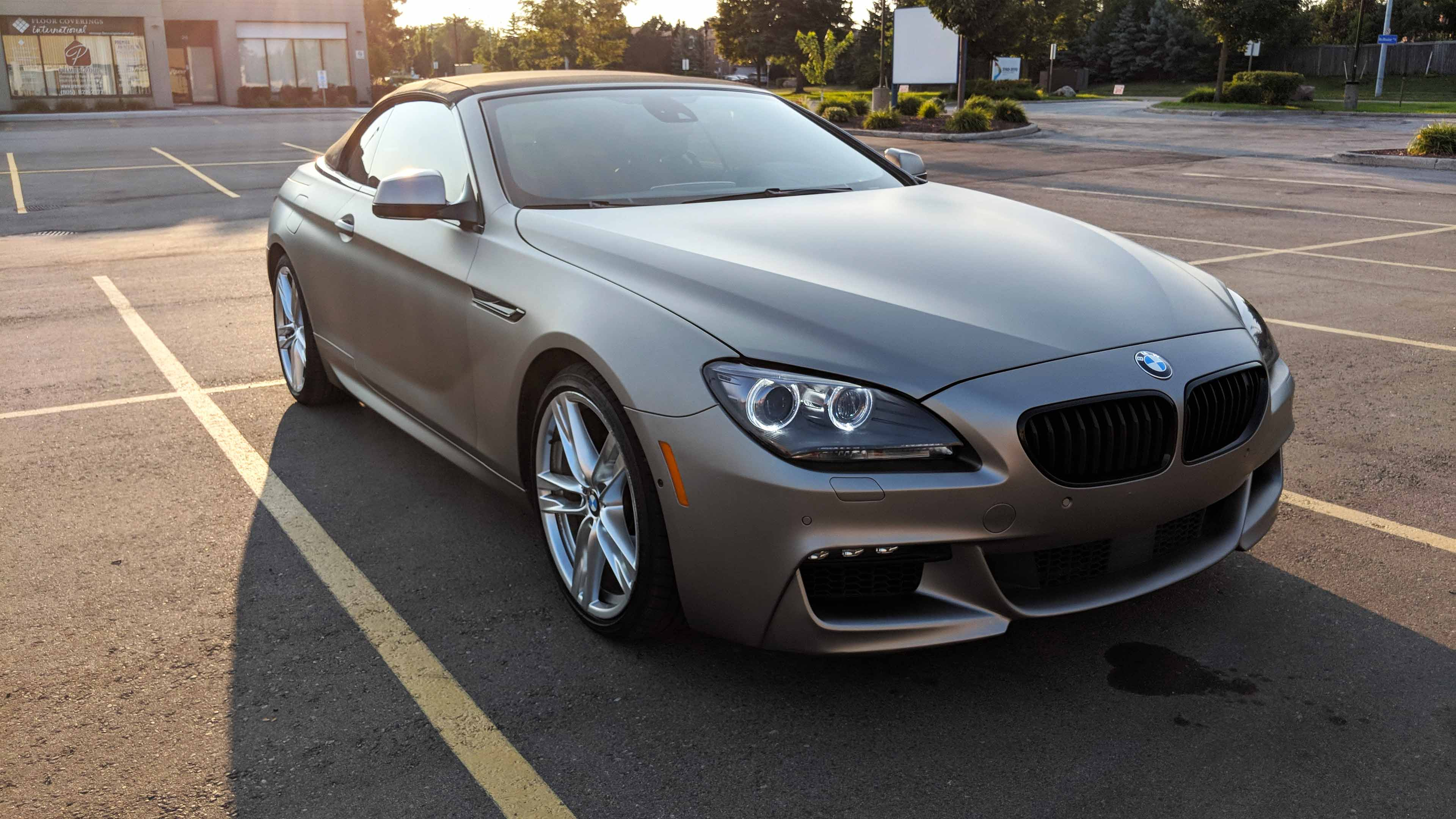 BMW 65i wrap in 3m matt grey aluminum with chrome delete